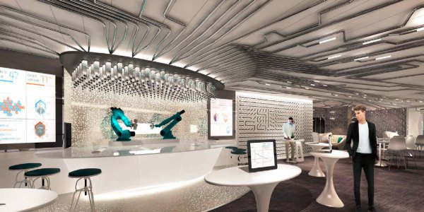Robots will tend bar at the Bionic Bar aboard Quantum of the Seas. Illustration courtesy of Royal Caribbean.