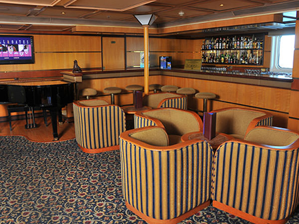 The Bar area of the Piano Bar, Deck 4, as Galapagos Explorer II. Aaron Saunders' Collection.