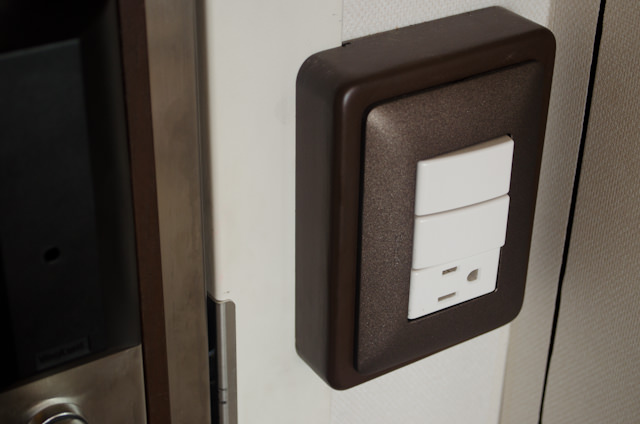 There are a total of five new North American power outlets throughout the room. Photo © 2014 Aaron Saunders