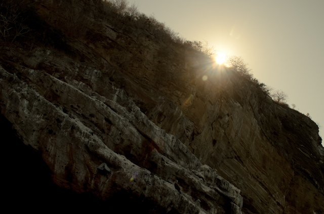 Morning Sunrise over a cliff face. Photo © 2014 Aaron Saunders