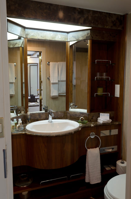 Suite bathrooms were completely re-done last year before Silver Galapagos entered service. Photo © 2014 Aaron Saunders