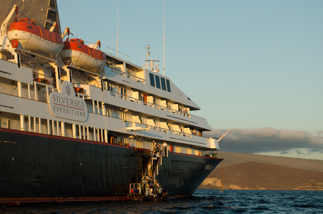 Returning to Silversea's Silver Galapagos at sunset. Photo © 2014 Aaron Saunders