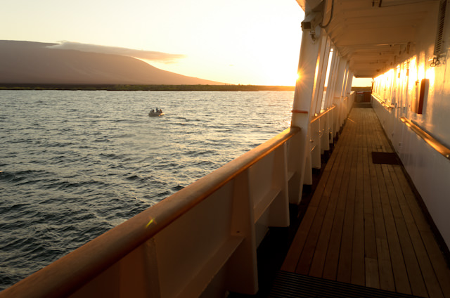 The sun goes down on Silversea's Silver Galapagos on Monday, October 6, 2014. Photo © 2014 Aaron Saunders