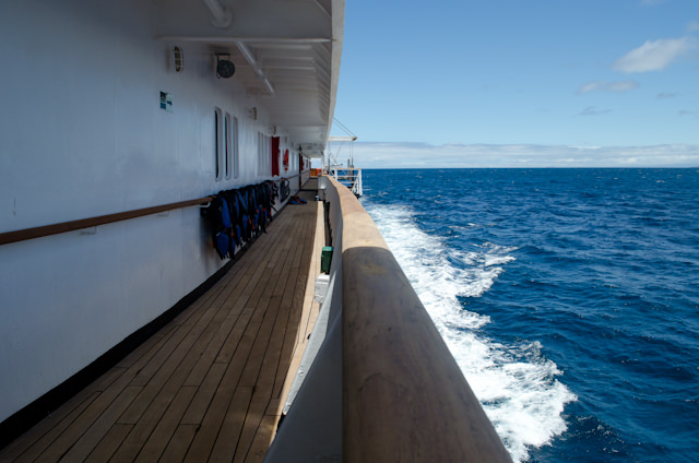 A few hours of scenic cruising were a treat this afternoon. Shown here is the small but rarely-used Promenade on Deck 3. Photo © 2014 Aaron Saunders