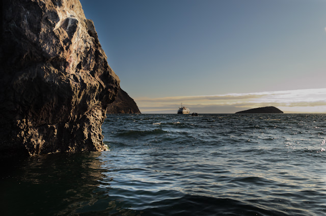 Silver Galapagos rests at anchor off Buccaneer Cove, Isla Santiago, Galapagos this afternoon. Photo © 2014 Aaron Saunders