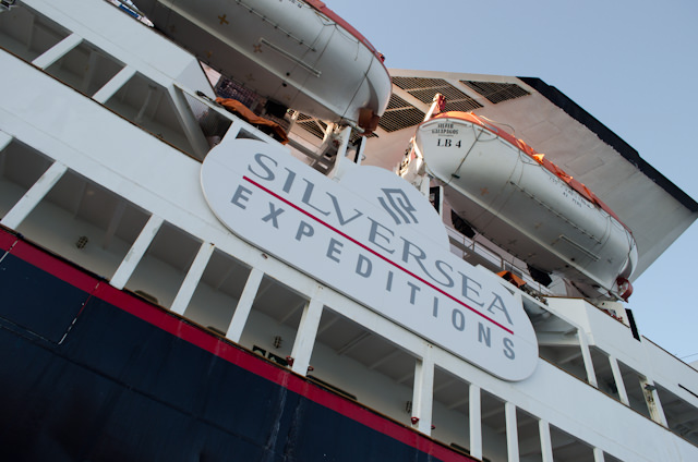 """New nameplate on the ship's port side. Note the unique """"wing"""" funnels just above the ship's lifeboats; this was a Renaissance Cruises trademark on these vessels. Photo © 2014 Aaron Saunders"""