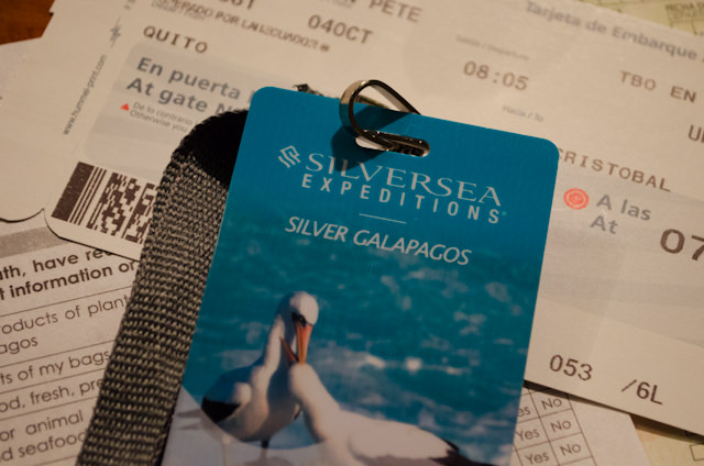 Ready To Rock: early this morning, Silversea's agents at the J.W. Marriott Quito provided me with my keycard, boarding pass for my flight to San Cristobal, and both Galapagos Islands Customs forms. Couldn't have been easier! Photo © 2014 Aaron Saunders