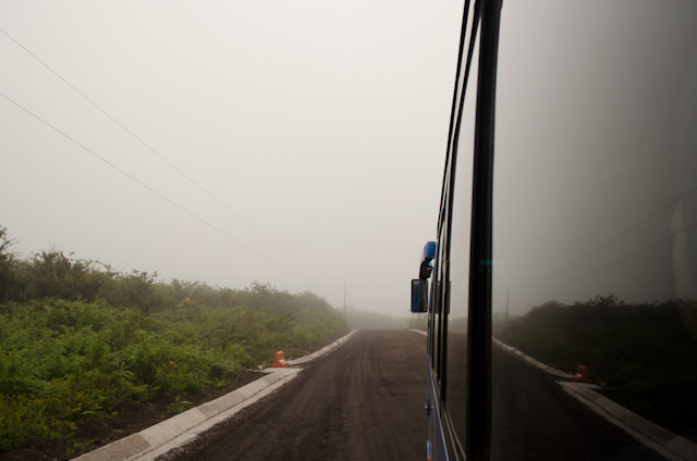 On the bus, en-route to the La Galapaguera Tortoise Reserve. Photo © 2014 Aaron Saunders