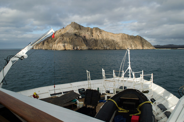 In the afternoon, Silver Glaapagos anchored off Wizard Hill, San Cristobal, Galapagos. Photo © 2014 Aaron Saunders