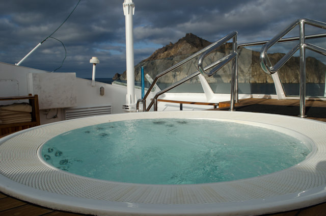 You can also indulge in the Hot Tub located all the way forward on Deck 6. Photo © 2014 Aaron Saunders