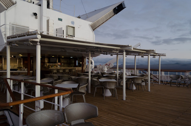The Grill on Deck 5, waiting for dinner guests. Photo © 2014 Aaron Saunders