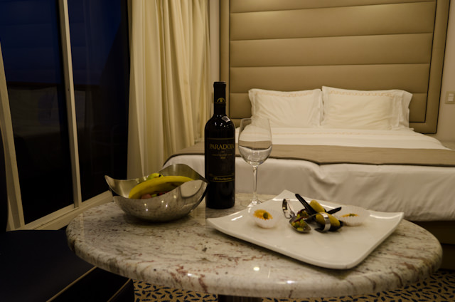Fruit, wine and canapes? Sounds like a very Silversea evening here onboard Silver Galapagos! Photo © 2014 Aaron Saunders