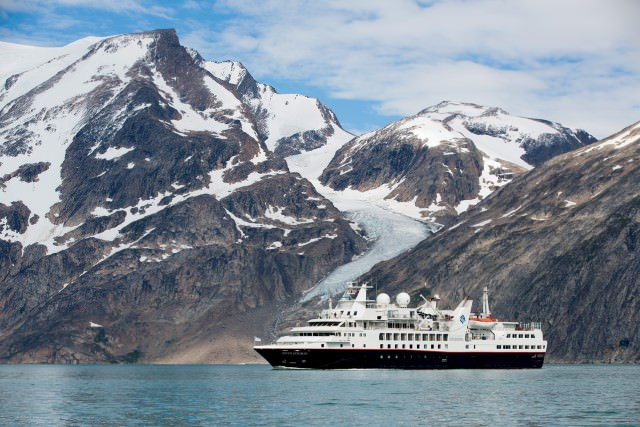 Silversea's Silver Explorer off the coast of Greenland at the start of her first Northwest Passage transit. Photo courtesy of Silversea