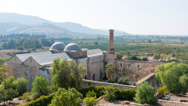 Isa Bey Mosque as seen from the Basilica of St. John.