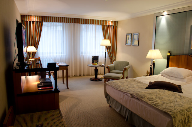 My room for the evening: one of the Deluxe Rooms at the Kempinski Hotel Corvinus Budapest. Photo © 2014 Aaron Saunders