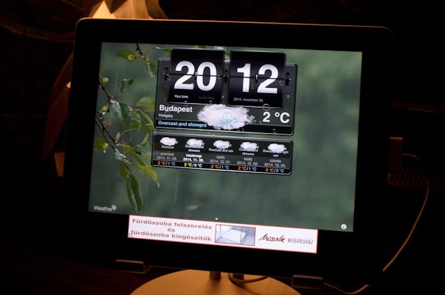Very Cool: interactive displays at the Reception Desks at the Kempinski Budapest. Bad news: it's cold. Worse news: it's going to rain! Photo © 2014 Aaron Saunders