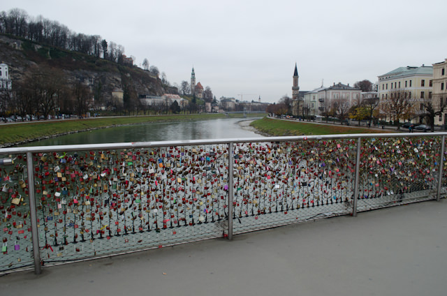 Welcome to Salzburg! Note that the 'love lock' craze has spread here as well. Photo © 2014 Aaron Saunders