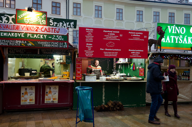 Food options at Bratislava's Christmas Markets are some of the most diverse I've seen - and are clearly aimed at locals. Many signs aren't printed in English. Photo © 2014 Aaron Saunders