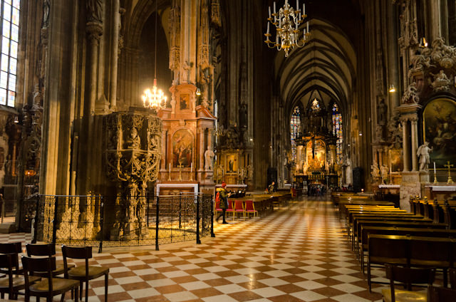 The Gothic interior of St. Stephen's Cathedral - less than half an hour away from the ship if you take the subway. Photo © 2014 Aaron Saunders