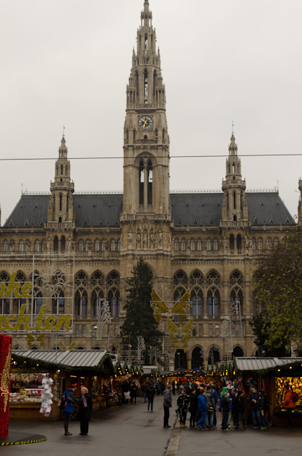 Vienna's largest and most famous Christmas Market takes place in front of the Rathaus, or City Hall. Photo © 2014 Aaron Saunders