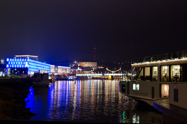 Viking Baldur docked in Salzburg, Austria in the early morning hours of December 5, 2014. Photo © 2014 Aaron Saunders