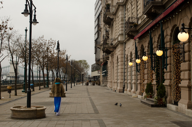 Welcome to Budapest! It's a little quieter here in the winter; during the summer, outdoor cafes line this promenade. Photo © 2014 Aaron Saunders