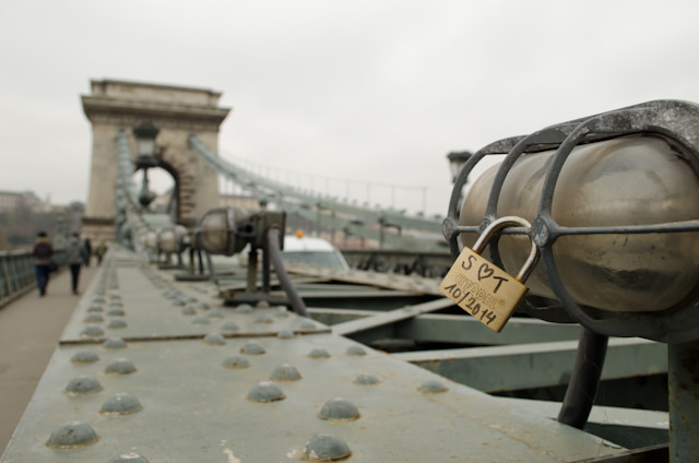 Love Locks have even made it to Budapest's Chain Bridge. Photo © 2014 Aaron Saunders