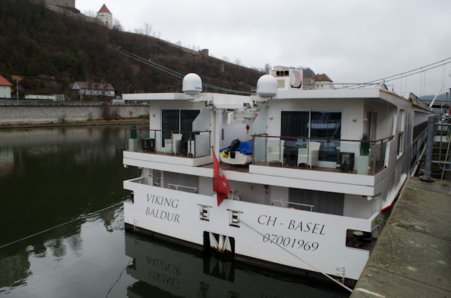 Viking Baldur docked in Passau, Germany today. Note the two Explorer Suites with their expansive balconies shown here in this stern shot. Photo © 2014 Aaron Saunders