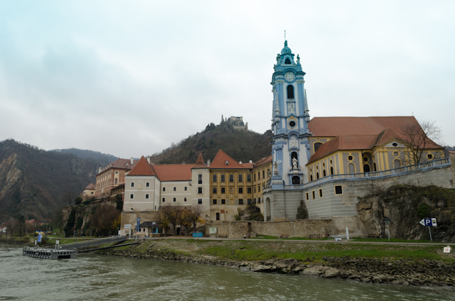 Durnstein, as seen from the Danube. Note the ruins of the castle in the background. Photo © 2014 Aaron Saunders
