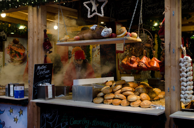Or piping hot meats at the Christmas Market. Photo © 2014 Aaron Saunders