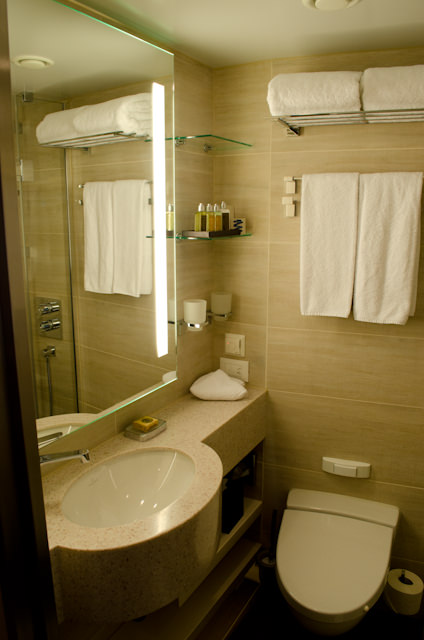 My room is mainly the same as my one aboard Viking Forseti last week - but with some notable differences. Shown here is the stateroom bathroom on Viking Baldur...Photo © 2014 Aaron Saunders