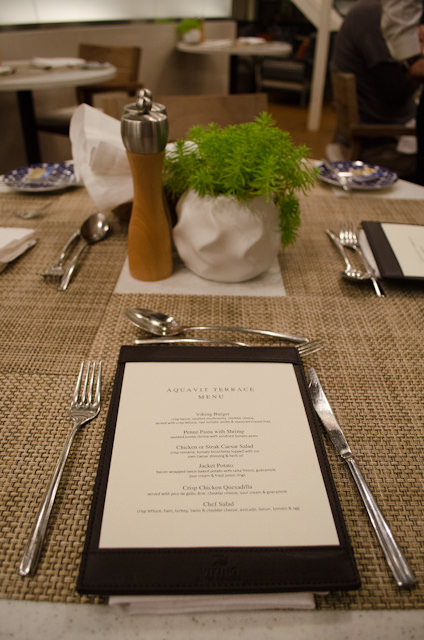 The casual menu in the Aquavit Terrace remains the same throughout the week for dinner. Photo © 2014 Aaron Saunders