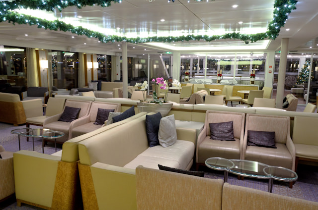The Viking Lounge aboard Viking Baldur, shown late at night. Photo © 2014 Aaron Saunders