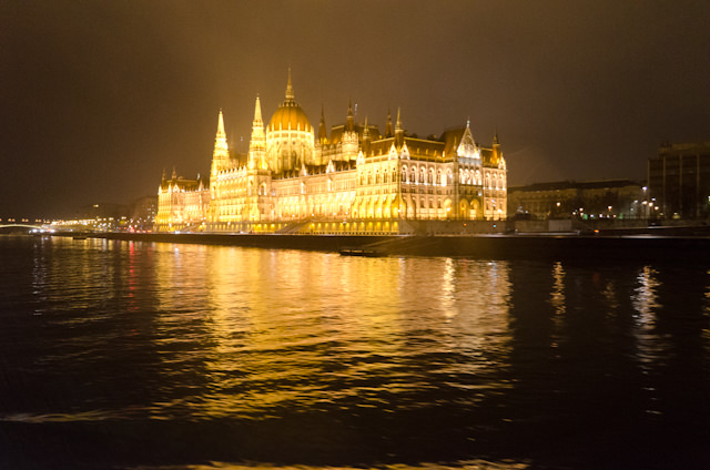 The spectacular Hungarian Parliament lit up on the evening of Monday, December 1, 2014. Photo © 2014 Aaron Saunders