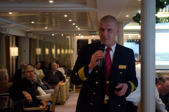 Viking Baldur's Captain Rainer gives his engaging nautical talk in the Viking Lounge. Photo © 2014 Aaron Saunders
