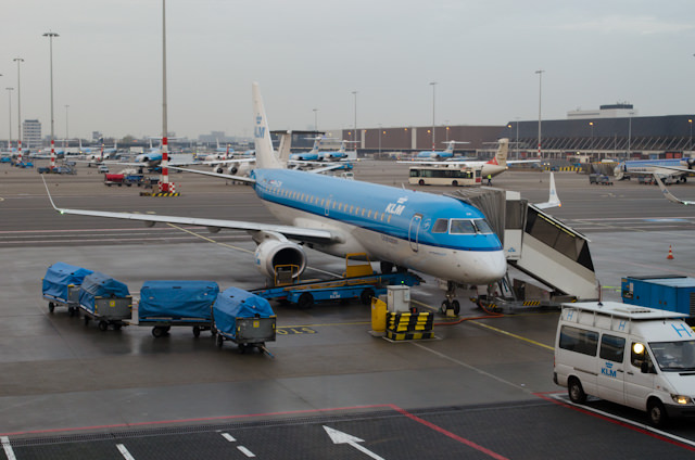 My journey to Bordeaux and the Viking Forseti took me through Amsterdam's Schiphol Airport, and a quick 90-minute jaunt on a KLM Cityhopper E190. Photo © 2014 Aaron Saunders