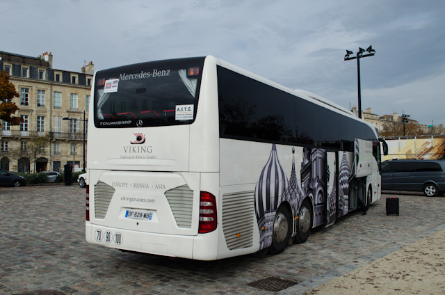 You always know which bus is yours with Viking, which has a fleet of branded Mercedes coaches in France and throughout Europe. Photo © 2014 Aaron Saunders