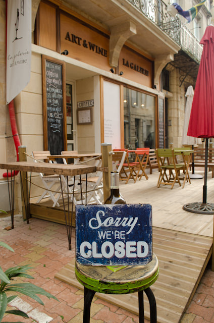 Seen in Blaye. Many shops are shuttered on Sunday and Monday - including banks. Photo © 2014 Aaron Saunders