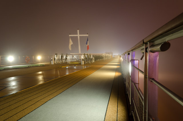 Good night from Viking Forseti in a very foggy Libourne, France. Photo © 2014 Aaron Saunders