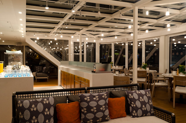 The Aquavit Terrace in the early morning hours. Photo © 2014 Aaron Saunders