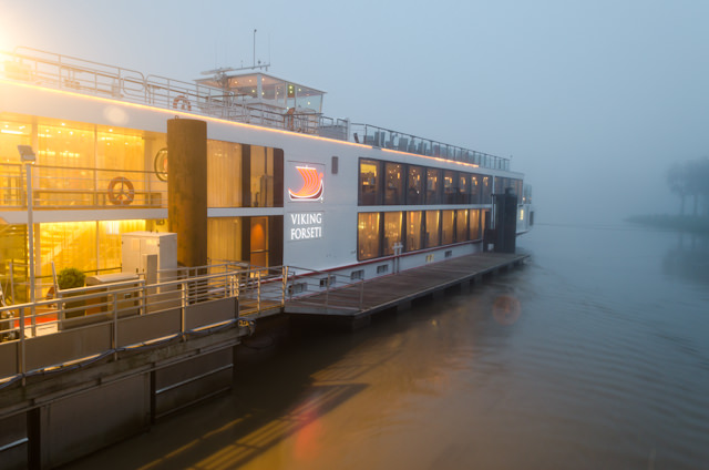 Viking Forseti docked in the Libourne fog. Photo © 2014 Aaron Saunders