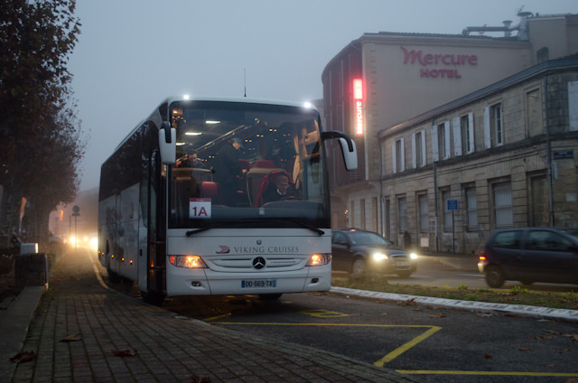 Boarding our Viking coach in the early morning hours in Libourne. Photo © 2014 Aaron Saunders