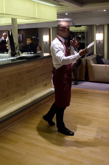 This evening, guests participated in a wine tasting with our onboard Sommelier, Frank. Photo © 2014 Aaron Saunders