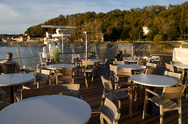 Sailing the Garonne River, as seen from Viking Forseti's sun-splashed Aquavit Terrace. Photo © 2014 Aaron Saunders