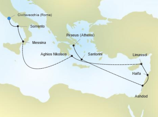 Silver Wind's Voyage 2433 will take us from Rome to Athens. Illustration courtesy of Silversea