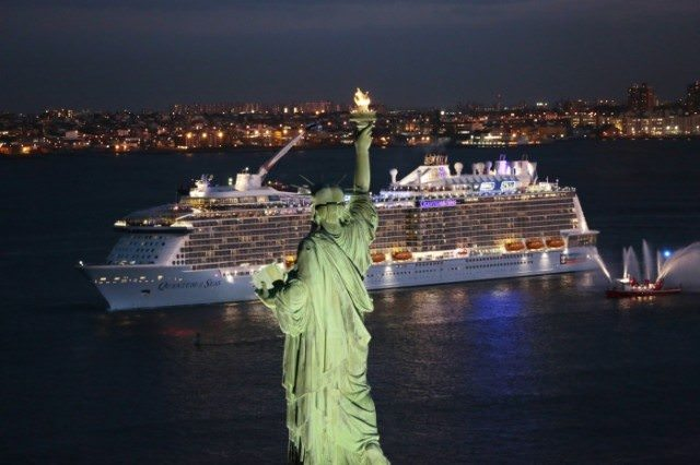 Royal Caribbean's Quantum of the Seas sails past the Statue of Liberty in New York on the evening of Wednesday, November 12, 2014. Photo courtesy of Royal Caribbean.