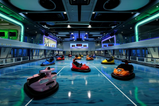The SeaPlex aboard Royal Caribbean's new Quantum of the Seas features the first bumper cars at sea. Photo courtesy of Royal Caribbean.