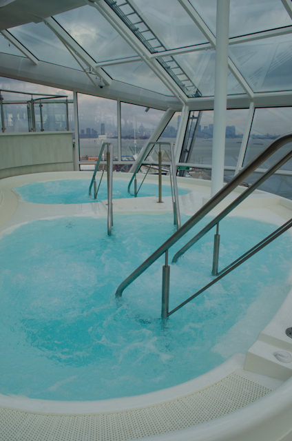 Hot tubs are located on the extreme port and starboard sides of the Solarium. Photo © 2014 Aaron Saunders