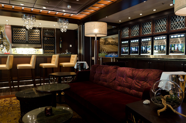 Soothing & Relaxing: enjoy a fine wine in Vintages, Deck 5 aft. Photo © 2014 Aaron Saunders
