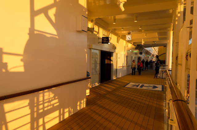 Although she lacks a proper promenade, Quantum of the Seas does have two passenger-accessible outdoor deck portions on Deck 5. Photo © 2014 Aaron Saunders